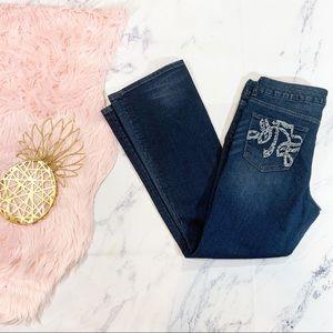 Seven7 Dark Wash Bootcut Embellished Pocket Jeans